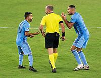 WASHINGTON, DC - SEPTEMBER 06: Maximiliano Moralez #10 and Ismael Tajouri-Shradi #29 of New York City FC argue with referee Ted Unkel during a game between New York City FC and D.C. United at Audi Field on September 06, 2020 in Washington, DC.
