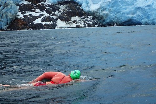 Nuala Moore swimming at Italy Glacier in water temperatures of  2/3 degrees