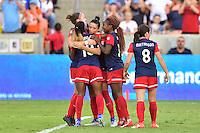 Houston, TX - Sunday Oct. 09, 2016: Crystal Dunn celebrates scoring during the National Women's Soccer League (NWSL) Championship match between the Washington Spirit and the Western New York Flash at BBVA Compass Stadium.