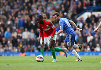 Pictured: Nathan Dyer goes past Mata<br /> Barclays Premier League, Chelsea FC (blue) V Swansea City,<br /> 28/04/13