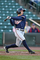 Gwinnett Braves outfielder Jordan Schafer #1 at bat during a game against the Rochester Red Wings at Frontier Field on May 5, 2011 in Rochester, New York.  Rochester defeated Gwinnett by the score of 3-2.  Photo By Mike Janes/Four Seam Images