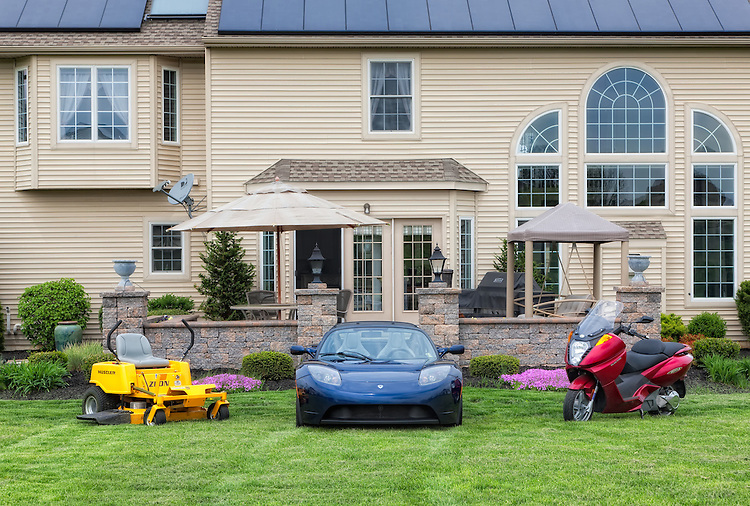 Even the lawn tractor is electric!