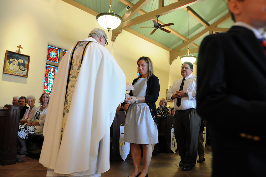 Holy Spirit School's First Communion Mass, Holy Spirit Catholic Church, Sacramento, California, Saturday, May 10, 2014. (photo by Pico van Houtryve)