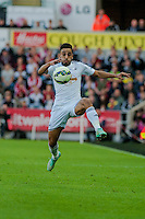 Saturday 4th  October 2014 Pictured: Neil Taylor of Swansea City takes the ball down the wing <br /> Re: Barclays Premier League Swansea City v Newcastle United at the Liberty Stadium, Swansea, Wales,UK