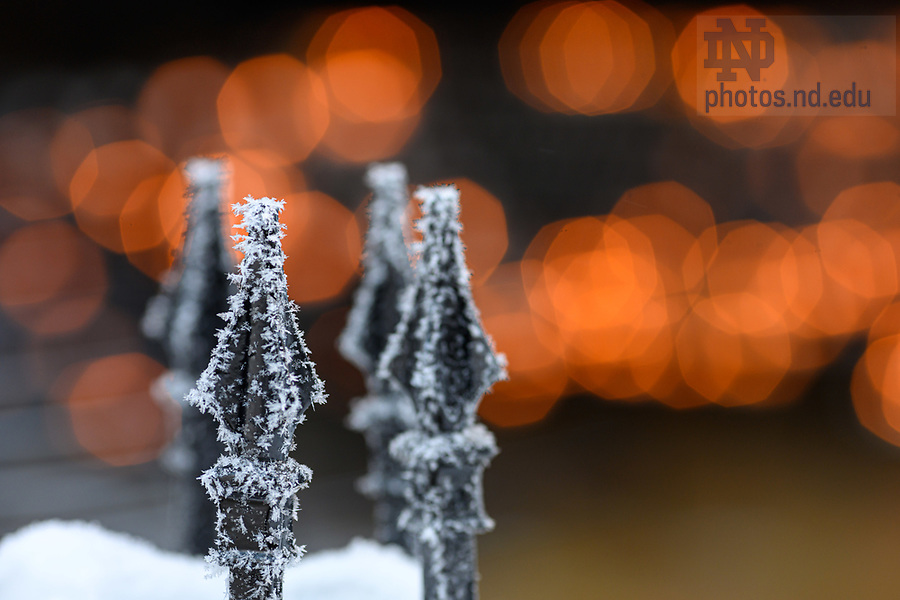 February 17, 2021; Grotto railing covered in a freezing frost. (Photo by Matt Cashore/University of Notre Dame)