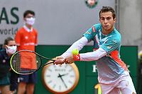 2nd October 2020, Roland Garros, Paris, France; French Open tennis, Roland Garros 2020; Tennis - Roland Garros  2020 - Hugo Gaston - France