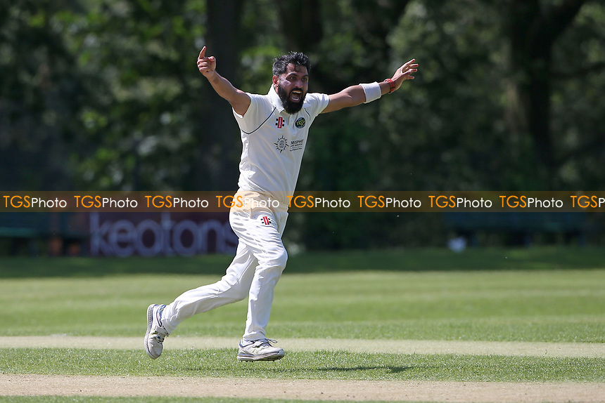 Shahbaz Khan of Harold Wood appeals for a wicket during Wanstead and Snaresbrook CC vs Harold Wood CC, Hamro Foundation Essex League Cricket at Overton Drive on 17th July 2021