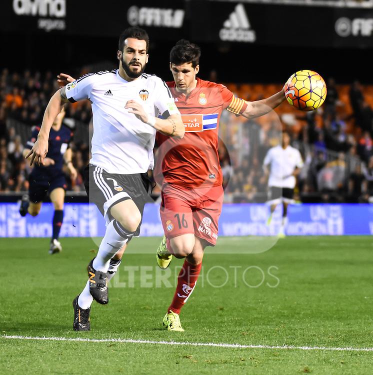 Valencia's  Alvaro Negredo  and RCD Espanyol's Javi Lopez  during La Liga match. February 13, 2016. (ALTERPHOTOS/Javier Comos)