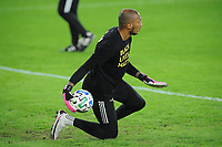 WASHINGTON, DC - OCTOBER 28: Eloy Room #1 of Columbus Crew SC warming up during a game between Columbus Crew and D.C. United at Audi Field on October 28, 2020 in Washington, DC.