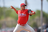 Philadelphia Phillies pitcher Harold Arauz (21) delivers a pitch during a minor league Spring Training game against the Pittsburgh Pirates on March 24, 2017 at Carpenter Complex in Clearwater, Florida.  (Mike Janes/Four Seam Images)