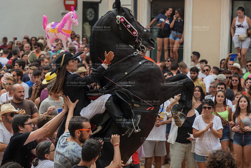 """Spain. Balearic Islands. Minorca (Menorca). Mahon. Rising horse at  """"Festes de la Mare de Déu de Gràcia"""" during the traditional summer festival. The Menorquín is a breed of horse indigenous to the island and is closely associated with the doma menorquina style of riding. The riders wear black and white and most of their horses (adorned with ribbons and multi-coloured rosettes) are of the highly-considered Menorcan breed. The riders and their horses parade through the streets, and these magnificent and remarkably calm horses rear up on their hind-legs to the delight of the crowd. The most valued quality of Menorquín horse is its suitability for the traditional festivals of Menorca. Horses and riders are at the centre of local fiesta celebrations, in a tradition that may go back to the 14th century and incorporate elements of Christian, pagan and Moorish ritual. Some 150 riders participate in the festival in Mahón. Riders pass through the crowds, executing caracoles and repeatedly performing the bot. The aim of the 'bot' is for the horse to stand on its hind legs while keeping its head and shoulders relaxed and without tension; the more often it is performed and the greater the distance travelled, the greater the applause of the crowd. The elevade, in which the horse beats the air with the front hooves, is also a part of the ritual of the fiesta. Touching the horses is believed to bring good luck. Maó (in Catalan) and Mahón (in Spanish), written in English as Mahon, is a municipality, the capital city of the island of Menorca, and seat of the Island Council of Menorca. The city is located on the eastern coast of the island, which is part of the autonomous community of the Balearic. In Spain, an autonomous community is a first-level political and administrative division, created in accordance with the Spanish constitution of 1978, with the aim of guaranteeing limited autonomy of the nationalities and regions that make up Spain. 8.09.2019 © 2019 Didier Ruef"""