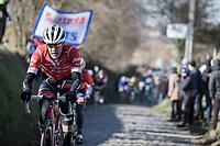Jasper Stuyven (BEL/Trek Segafredo) riding the cobbles of the Oude Kwaremont.<br /> <br /> 70th Kuurne Brussel Kuurne 2018.