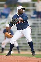 Relief pitcher Rico Reid (40) of the Danville Braves in action at Dan Daniels Park in Danville, VA, Sunday July 27, 2008.