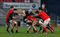 12 December 2020; Conor McMenamin off loads to David McCann during the A series inter-pros series 20-21 between Ulster A and Munster A at Kingspan Stadium, Ravenhill Park, Belfast, Northern Ireland. Photo by John Dickson/Dicksondigital