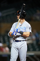 Surprise Saguaros Ryan O'Hearn (21), of the Kansas City Royals organization, during a game against the Salt River Rafters on October 21, 2016 at Salt River Fields at Talking Stick in Scottsdale, Arizona.  Salt River defeated Surprise 3-2.  (Mike Janes/Four Seam Images)