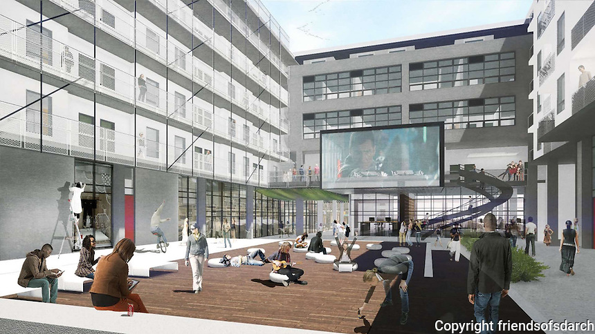 """IDEA 1 for San Diego's design + technology hub, East Village. Common areas of project will be a ground floor event space or """"HUB"""" connecting residential and commercial ecosystems. Residents can collaborate in an """"E-Lounge"""" suspended over the plaza or on a roof terrace with pool and city views. Caroline Kreiser, AIA."""