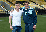 East Fife v St Johnstone…29.07.17… Bayview… Pre-Season Friendly<br />Saints boss Tommy Wright pictured with Michael O'Halloran at Bayview ahead of today's friendly against East Fife who has signed on loan from Rangers until January<br />Picture by Graeme Hart.<br />Copyright Perthshire Picture Agency<br />Tel: 01738 623350  Mobile: 07990 594431