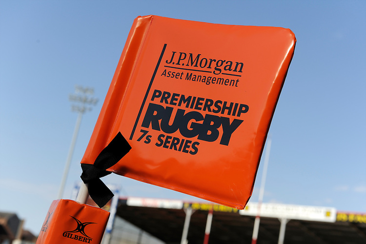 20130801 Copyright onEdition 2013 ©<br /> Free for editorial use image, please credit: onEdition.<br /> <br /> Detail of JP Morgan branding on a corner flag during the J.P. Morgan Asset Management Premiership Rugby 7s Series.<br /> <br /> The J.P. Morgan Asset Management Premiership Rugby 7s Series kicks off for the fourth season on Thursday 1st August with Pool A at Kingsholm, Gloucester with Pool B being played at Franklin's Gardens, Northampton on Friday 2nd August, Pool C at Allianz Park, Saracens home ground, on Saturday 3rd August and the Final being played at The Recreation Ground, Bath on Friday 9th August. The innovative tournament, which involves all 12 Premiership Rugby clubs, offers a fantastic platform for some of the country's finest young athletes to be exposed to the excitement, pressures and skills required to compete at an elite level.<br /> <br /> The 12 Premiership Rugby clubs are divided into three groups for the tournament, with the winner and runner up of each regional event going through to the Final. There are six games each evening, with each match consisting of two 7 minute halves with a 2 minute break at half time.<br /> <br /> For additional images please go to: http://www.w-w-i.com/jp_morgan_premiership_sevens/<br /> <br /> For press contacts contact: Beth Begg at brandRapport on D: +44 (0)20 7932 5813 M: +44 (0)7900 88231 E: BBegg@brand-rapport.com<br /> <br /> If you require a higher resolution image or you have any other onEdition photographic enquiries, please contact onEdition on 0845 900 2 900 or email info@onEdition.com<br /> This image is copyright the onEdition 2013©.<br /> <br /> This image has been supplied by onEdition and must be credited onEdition. The author is asserting his full Moral rights in relation to the publication of this image. Rights for onward transmission of any image or file is not granted or implied. Changing or deleting Copyright information is illegal as specified in the Copyright, Design and Patents Act 