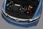 High angle engine detail of a 2009 Honda Civic Hybrid .