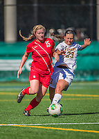 29 September 2013: Stony Brook University Seawolves Forward/Midfielder Leah Yurko, a Freshman from Cumberland, MD, battles University of Vermont Catamount Midfielder CC Greer, a Sophomore from Massapequa, NY, during game action at Virtue Field in Burlington, Vermont. The Lady Seawolves defeated the Catamounts 2-1 in America East play. Mandatory Credit: Ed Wolfstein Photo *** RAW (NEF) Image File Available ***
