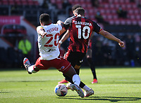 2nd April 2021; Vitality Stadium, Bournemouth, Dorset, England; English Football League Championship Football, Bournemouth Athletic versus Middlesbrough; Darnell Fisher of Middlesbrough tries to block the shot from Arnaut Danjuma of Bournemouth