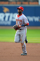 Harrisburg Senators outfielder Brian Goodwin #23 runs in from the outfield during a game against the Erie Seawolves on July 2, 2013 at Jerry Uht Park in Erie, Pennsylvania.  Erie defeated Harrisburg 2-1.  (Mike Janes/Four Seam Images)