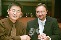 Left: Arvin Tian, Vice Managing Director, right: Dominique J Rivard, Head Wine Maker, both from Tianjin Kernel Rivard Wines Ltd Vineyards, a Chinese producer of excellent fruit wines Beijing, China, Asia