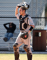 March 15, 2010:  Catcher Tyler Jones (16) of the Long Island University Blackbirds vs. UMBC at Lake Myrtle Park in Auburndale, FL.  Photo By Mike Janes/Four Seam Images