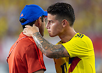 Tampa, FL - Thursday, October 11, 2018: Arturo Reyes, James Rodriguez, during a USMNT match against Colombia.  Colombia defeated the USMNT 4-2.