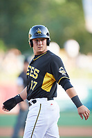 Matt Thaiss (17) of the Salt Lake Bees in action against the New Orleans Baby Cakes at Smith's Ballpark on June 8, 2018 in Salt Lake City, Utah. Salt Lake defeated New Orleans 4-0.  (Stephen Smith/Four Seam Images)