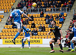 St Johnstone v Partick Thistle…28.04.18…  McDiarmid Park    SPFL<br />Joe Shaughnessy heads in St Johnstone's goal<br />Picture by Graeme Hart. <br />Copyright Perthshire Picture Agency<br />Tel: 01738 623350  Mobile: 07990 594431
