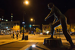 Longtime industrial city Decatur, Ill., had the country's greatest unemployment rate reduction. But people leaving the workforce – moving away, retiring, no longer looking for jobs -- may be the cause, rather than economic expansion. City officials have banned trucks downtown, which features a statue of the young Abraham Lincoln.<br /> CREDIT: Kristen Schmid for the Wall Street Journal<br /> RUSTBELT