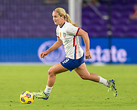 ORLANDO, FL - JANUARY 22: Lindsey Horan #9 of the USWNT dribbles during a game between Colombia and USWNT at Exploria stadium on January 22, 2021 in Orlando, Florida.