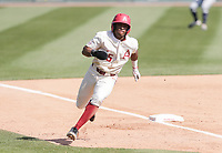 Arkansas outfielder Christian Franklin (25) runs home for a score, Saturday, April 3, 2021 during the sixth inning of a baseball game at Baum-Walker Stadium in Fayetteville. Check out nwaonline.com/210404Daily/ for today's photo gallery. <br /> (NWA Democrat-Gazette/Charlie Kaijo)