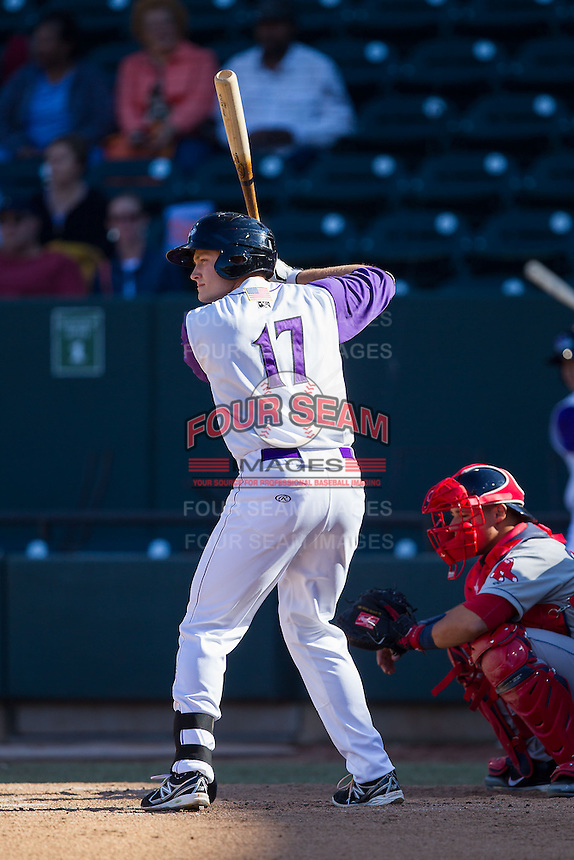 Jason Coats (17) of the Winston-Salem Dash at bat against the Salem Red Sox at BB&T Ballpark on April 20, 2014 in Winston-Salem, North Carolina.  The Dash defeated the Red Sox 10-8.  (Brian Westerholt/Four Seam Images)