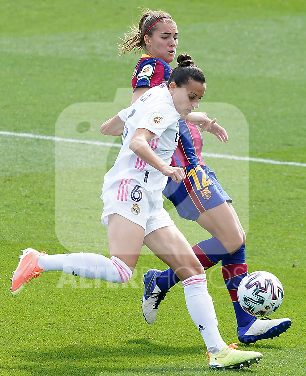 First official match and first classic in the history of women's Real Madrid.<br /> Real Madrid's Aurelie Kaci (l) and FC Barcelona's Patri Guijarro during Spanish Female League match. October 4,2020. (ALTERPHOTOS/Acero)