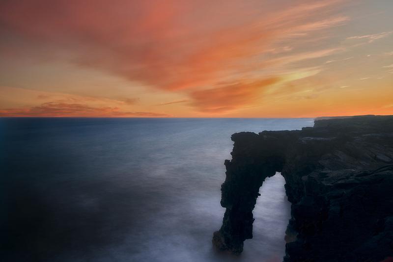 Sunset at Sea Arch. Hawaii Volcanoes National Park, Hawaii Island