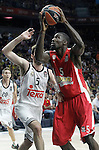 Real Madrid's Rudy Fernandez (l) and Olympiacos Piraeus' Othello Hunter during Euroleague Final Match. May 15,2015. (ALTERPHOTOS/Acero)