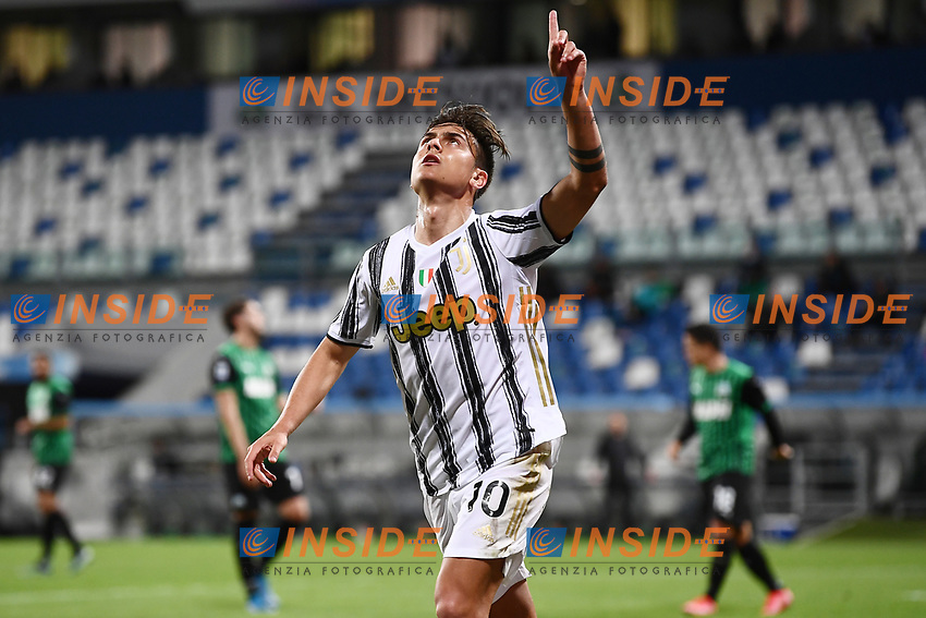 Paulo Dybala of Juventus FC celebrates after scoring the goal of 1-3 during the Serie A football match between US Sassuolo and Juventus FC at Citta del Tricolore stadium in Reggio Emilia (Italy), May 2nd 2021. Photo Image Sport / Insidefoto