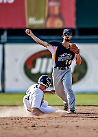 20 June 2021: Westfield Starfires infielder Cam MacIntosh, from Gig Harbor, WA, turns a double-play in the 3rd inning, getting Sky Rahill out at second during a game against the Vermont Lake Monsters at Centennial Field in Burlington, Vermont. The Starfires defeated the Vermont Lake Monsters 10-2 at Centennial Field, in Burlington, Vermont. Mandatory Credit: Ed Wolfstein Photo *** RAW (NEF) Image File Available ***