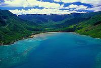 Aerial view of Kahana Bay Beach Park and Kahana Valley State park along Oahu's eastern coastline.