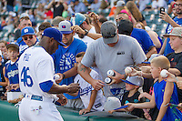 Oklahoma City Dodgers Yasiel Puig (46) signs autographs  before his first home game in Oklahoma City against the El Paso Chihuahuas at Chickasaw Bricktown Ballpark on August 12, 2016 in Oklahoma City, Oklahoma. Oklahoma City defeated El Paso 8-4.  (William Purnell/Four Seam Images)