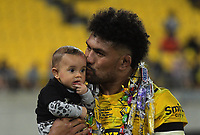 Ardie Savea celebrates his 100th match after the Super Rugby Aotearoa match between the Hurricanes and Blues at Sky Stadium in Wellington, New Zealand on Saturday, 27 February 2021. Photo: Mike Moran / lintottphoto.co.nz
