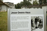 2019, Berlin, Germany; Information board for the Jesse Owens house in the Olympic village of Berlin in 1936