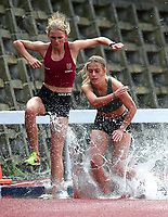 Siobahn Balle of Kings College (L), Bella Brown and Chloe Brown of St Cuthberts, 3000m Steeple Chase. Auckland Secondary Schools Athletic Championships, Mt Smart Stadium, Auckland, Tuesday 30 March 2021. Photo: Simon Watts/www.bwmedia.co.nz