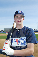 February 10 2008: Jett Bandy participates in a MLB pre draft workout for high school players at the Urban Youth Academy in Compton,CA.  Photo by Larry Goren/Four Seam Images