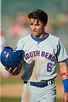 Jhonny Bethencourt (6) of the South Bend Cubs during the game against the Lansing Lugnuts at Cooley Law School Stadium on June 15, 2018 in Lansing, Michigan. The Lugnuts defeated the Cubs 6-4.  (Brian Westerholt/Four Seam Images)