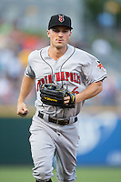 Indianapolis Indians left fielder Adam Frazier (6) jogs off the field between innings of the game against the Charlotte Knights at BB&T BallPark on June 17, 2016 in Charlotte, North Carolina.  The Knights defeated the Indians 4-0.  (Brian Westerholt/Four Seam Images)