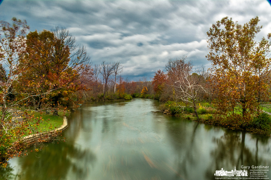 Alum Creek and small spillway dam in Westerville, Ohio