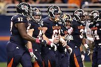 SAN ANTONIO, TX - OCTOBER 27, 2012: The Utah State University Aggies versus The University of Texas at San Antonio Roadrunners Football at the Alamodome. (Photo by Jeff Huehn)